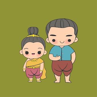 Kawaii thai kids em um personagem de desenho animado de vestido tradicional