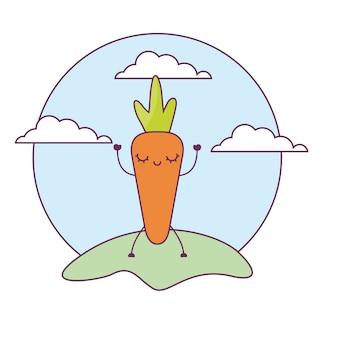 Kawaii vegetal fresco da cenoura na paisagem