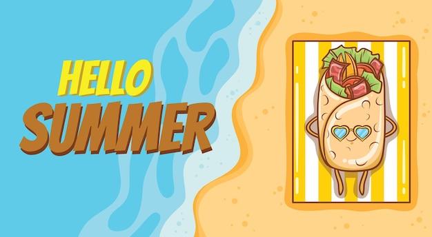 Kebab fofo tomando banho de sol na praia com uma faixa de saudação de verão