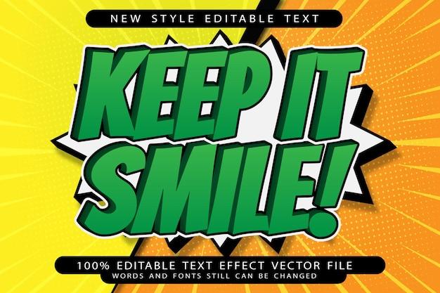 Keep it smile efeito de texto editável em relevo estilo cartoon