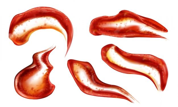 Ketchup espirra conjunto vista superior, gotas de molho de tomate