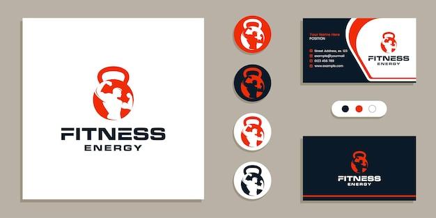 Kettlebell com homem fisiculturista logotipo da academia de ginástica e inspiração do modelo de design de cartão de visita