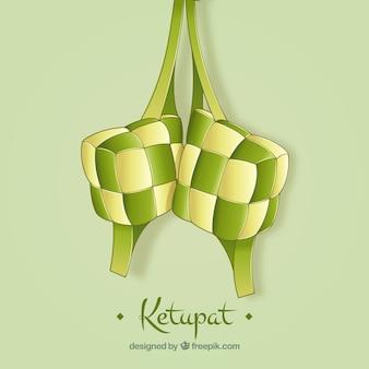 Ketupat fundo desenhado à mão estilo