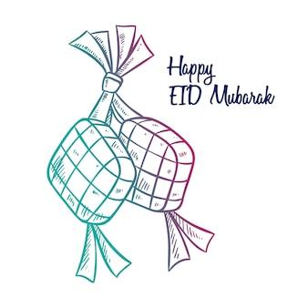 Ketupat para eid mubarak ou idul fitri com estilo desenhado à mão
