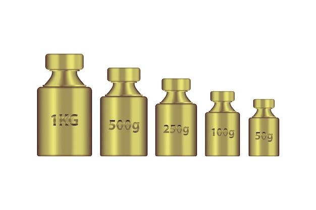 Kg peso massa ouro metal conjunto realista.