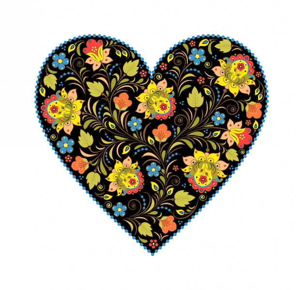 Khokhloma coração floral com design tradicional russa.