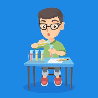 Kid conduzindo experimento em aula de laboratório.
