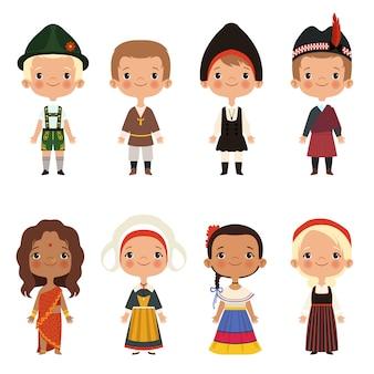 Kid de diferentes nacionalidades