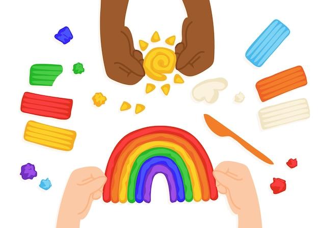 Kid esculpe o sol, arco-íris e nuvem com plasticina, ferramentas de modelagem de argila, tábua e faca, processo de arte, vista superior. ilustrações desenhadas à mão em estilo simples de desenho animado moderno