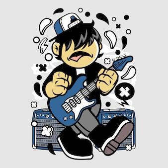 Kid rockstar cartoon