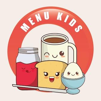 Kids menu kawaii café da manhã nutrição