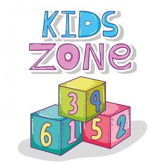 Kids play zone com jogo de cubos