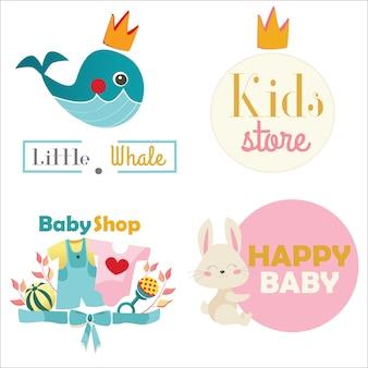Kids store or toy shop conjunto de logotipo. ilustração vetorial
