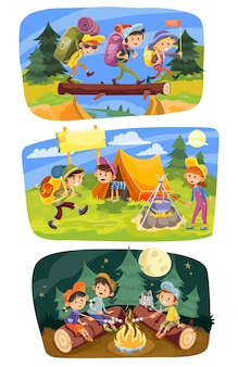 Kids summer camping grupo de adolescentes ir caminhadas na natureza com mochilas