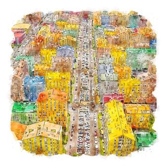 Kiev city ucrânia esboço em aquarela.
