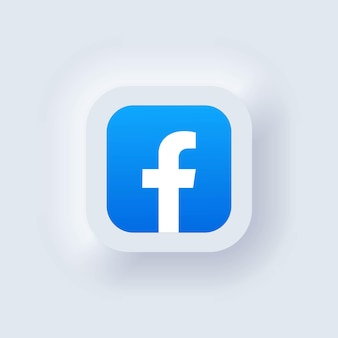 Kiev, ucrânia - 19 de março de 2021: conjunto de ícones do facebook. ícones de mídia social. conjunto realista. interface de usuário ux branca neumorphic ui. estilo de neumorfismo.