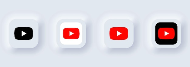 Kiev, ucrânia - 22 de fevereiro de 2021: conjunto de ícones do youtube. ícones de mídia social. conjunto realista. interface de usuário ux branca neumorphic ui. estilo de neumorfismo.