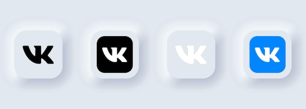 Kiev, ucrânia - 22 de fevereiro de 2021: conjunto de ícones vkontakte. ícones de mídia social. conjunto realista. interface de usuário ux branca neumorphic ui. estilo de neumorfismo.