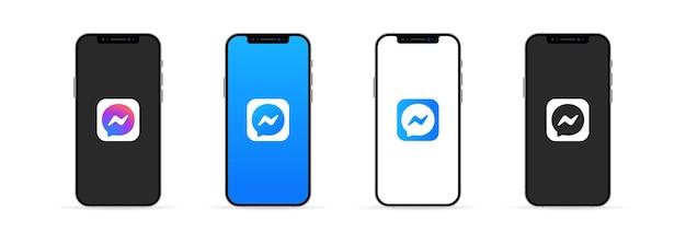 Kiev, ucrânia - 30 de março de 2021: app messenger na tela do iphone. interface de usuário ux branca.