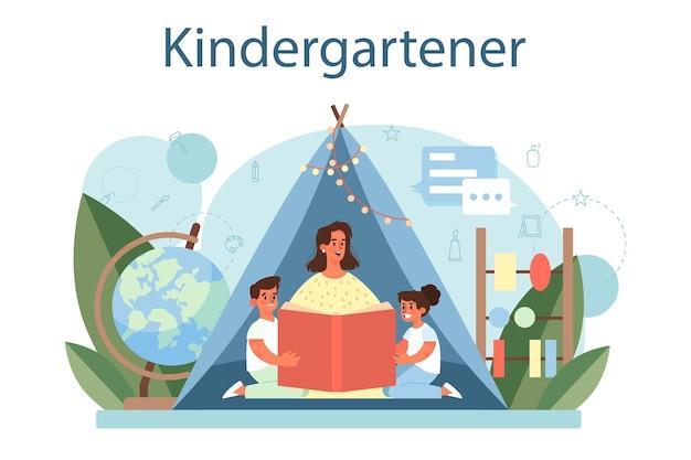 Kindergartener. nany profissional e crianças fazendo atividades diferentes. linda criança brincar com brinquedos. creche, educação pré-escolar. ilustração vetorial