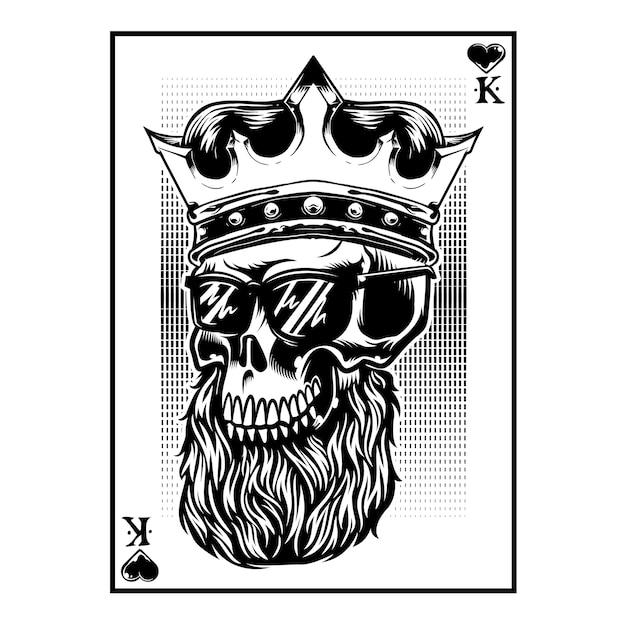 King card deck skull head com barba e usa a coroa