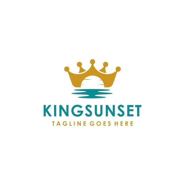 King crown com o pôr do sol do oceano logo design