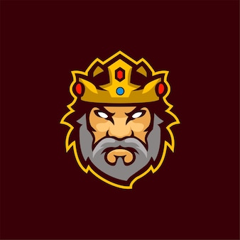 King head cartoon logo template ilustração esport logo gaming premium vector Vetor Premium