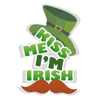 Kiss me im t-shirt irlandesa ou design de cartaz com chapéu de duende. para a celebração do dia de são patrício