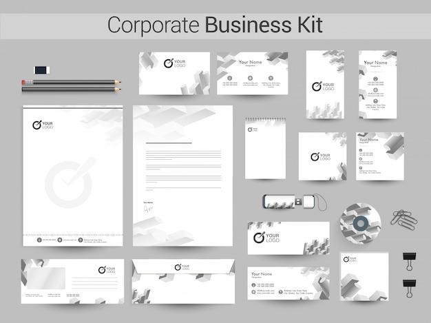 Kit corporativo corporativo com elementos geométricos cinza.