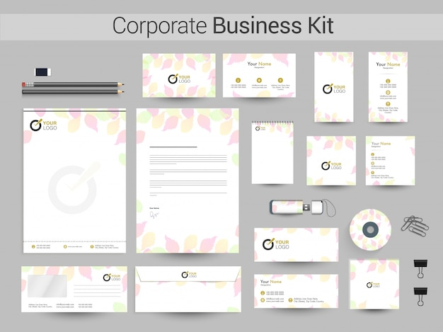 Kit corporativo corporativo com folhas coloridas.