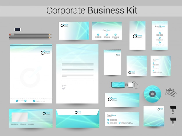 Kit corporativo corporativo com linhas brilhantes.
