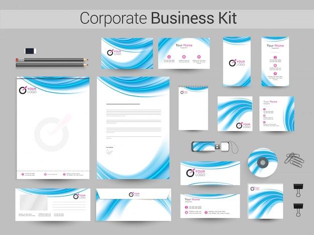 Kit corporativo corporativo com ondas azuis brilhantes.