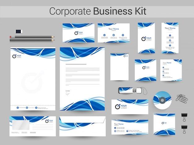 Kit corporativo corporativo com ondas azuis.