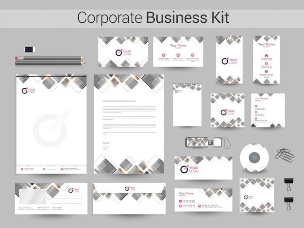 Kit corporativo corporativo com quadrados cinza.