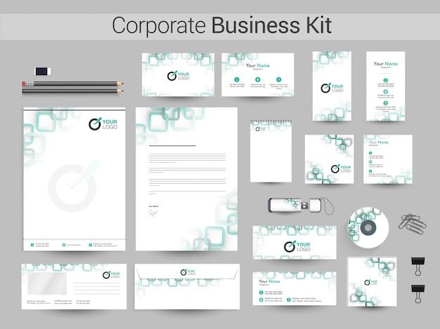 Kit corporativo corporativo com quadrados verdes.