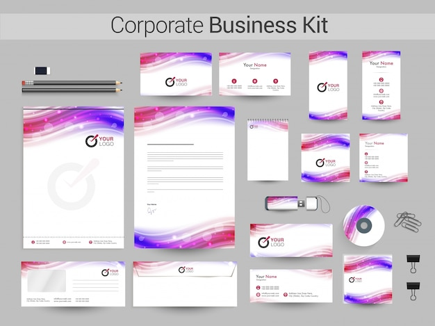Kit corporativo empresarial com ondas coloridas.