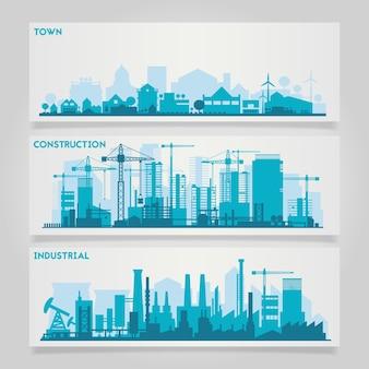 Kit de banners horizontais vetoriais com fábricas e partes industriais de cidades e vilarejos