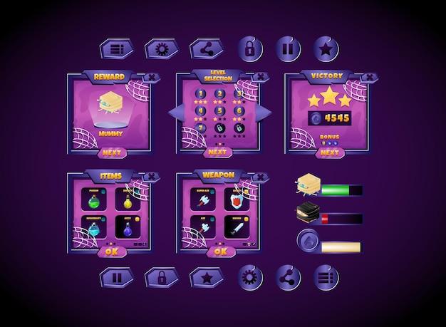Kit de coleta com interface pop-up de quadro assustador de halloween com barra e ícones
