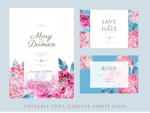 Kit de convite de casamento decorado com peônias pintadas à mão