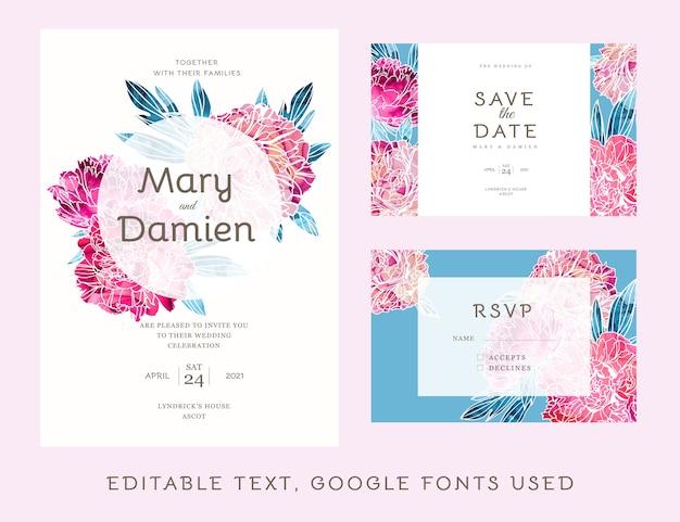 Kit de convite de casamento editável decorado com peônias pintadas à mão