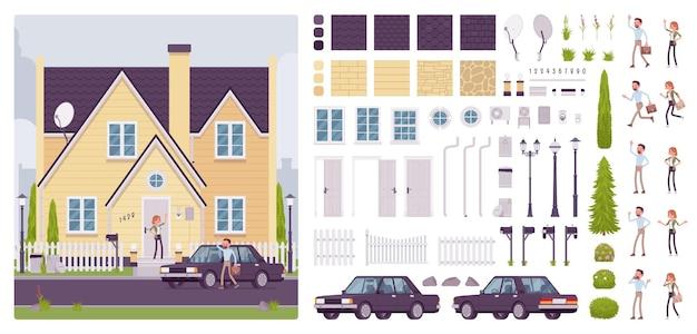 Kit de criação de casa com arquitetura suburbana clássica