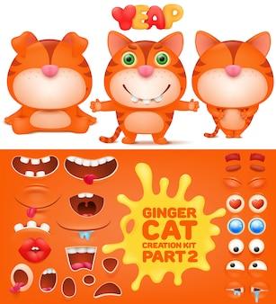 Kit de criação de gengibre gato emoticon engraçado.