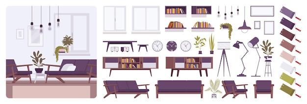 Kit de criação de interior moderno de sala de estar, casa ou escritório