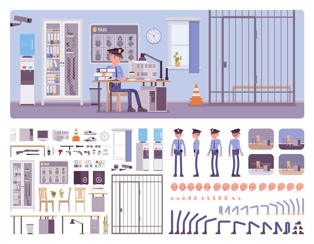 Kit de criação de interiores de escritório de delegacia com policial