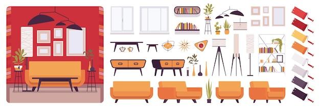 Kit de criação de interiores de sala de estar, casa ou escritório