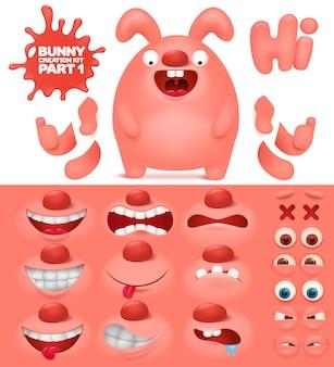 Kit de criação do personagem de coelho rosa emoticon