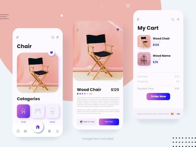 Kit de design de interface do usuário de comércio eletrônico para telas gui