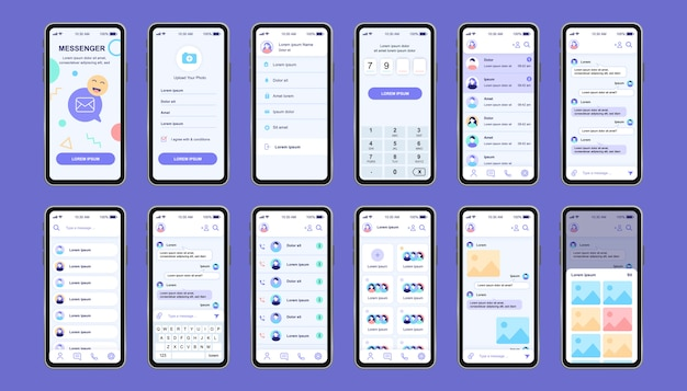 Kit de design exclusivo do messenger online para aplicativos. telas de redes sociais com menu e perfil do usuário, contatos, bate-papo com o teclado. ui do messenger móvel, conjunto de modelo de ux. gui para aplicativos móveis responsivos