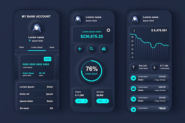 Kit de design neumorfo exclusivo de banco on-line para app.