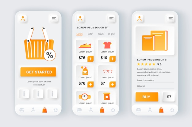 Kit de design neumorfo exclusivo para solução de compras.